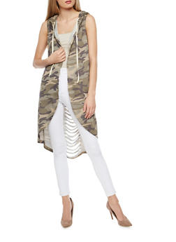 Camouflage Slashed Back Hooded Duster - 3031067330886