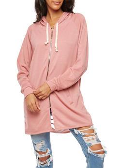 Slashed Back Zip Up Tunic Sweatshirt - BLUSH - 3031067330887