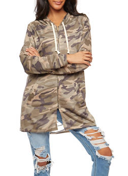 Camo Print Slashed Back Tunic Zip Front Sweatshirt - 3031067330888