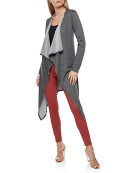 Long Sleeve Laser Cut Duster - CHARCOAL/BLK - 3031067330889