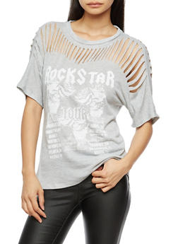 Slashed Yoke Graphic Short Sleeve Top - 3032058750287