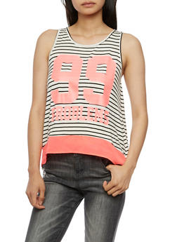 99 Problems Graphic Striped Tank Top - 3032058751423