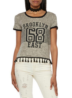 Knit Tee with Brooklyn East Graphic and Tassel Trim - 3032058755741