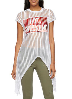 Shadow Stripe Top with Hot Weekend Graphic - 3032058756274
