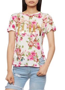 I am an Icon Graphic Floral Lasercut Top - 3032058758906