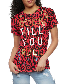 Rock till You Roll Graphic Lasercut Top - 3032058759134