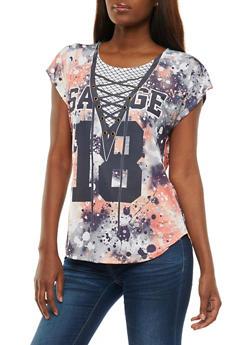 Splatter Graphic Print T Shirt with Grommet Detail - 3032058759301