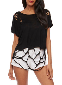 Short Sleeve Lasercut T Shirt - 3032067330102