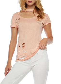 Short Sleeve Ripped Choker Neck T Shirt - BLUSH - 3032067330103