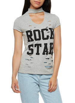 Rock Star Keyhole Graphic Top - 3032067330104