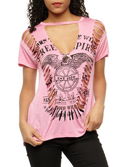 Free Spirit Slashed T Shirt - 3032067330105