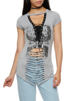Short Sleeve Lace Up Laser Cut Graphic Tunic Top - 3032067330106