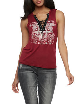 Rolling Thunder Graphic Tank Top - BURGUNDY - 3032067330109