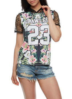 Flawless Graphic Top with Mesh Sleeves and Hood - 3032067330122