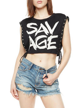 Sleeveless Savage Graphic Crop Top with  Lace Up Sides - 3032067330853