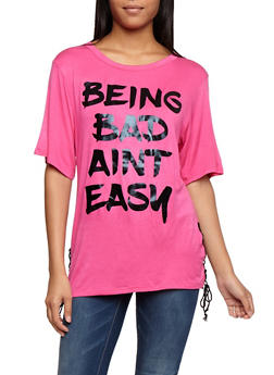 Being Bad Aint Easy Lace Up Top - 3032067330857