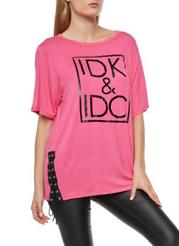 IDK IDC Graphic Lace Up Top - 3032067330858