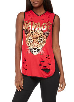 Savage Graphic Ripped Sleeveless Hooded Top - 3032067330859