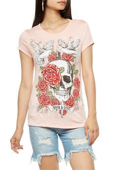 Rose Skull Slashed Graphic T Shirt - 3032067330863