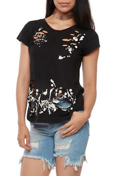 Paint Splatter Laser Cut T Shirt - 3032067331073