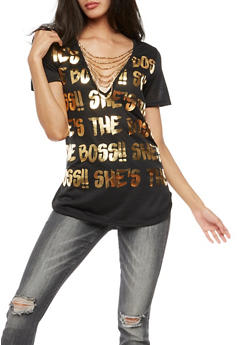 Short Sleeve Graphic Top with Beaded Detail - 3032067332414