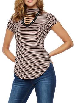 Striped Lace Up Choker Neck Tunic Top - 3033015993125