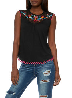 Embroidered Lace Yoke Top with Pom Pom Trim - 3033015993620