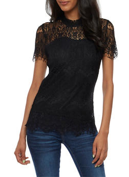 Short Sleeve Lace Top - 3033015993711