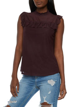Ruffled Mesh Tank Top - 3033015993815