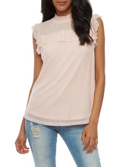 Ruffled Mesh Tank Top - BLUSH - 3033015993815