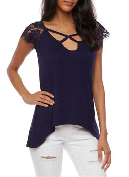 Lace Short Sleeve A Line Top - 3033015994255