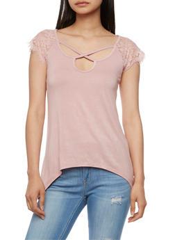 Lace Short Sleeve A Line Top - MAUVE - 3033015994255