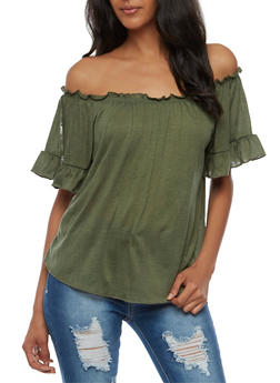 Ruffled Off the Shoulder Top - OLIVE - 3033015994614