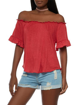 Ruffled Off the Shoulder Top - 3033015994614