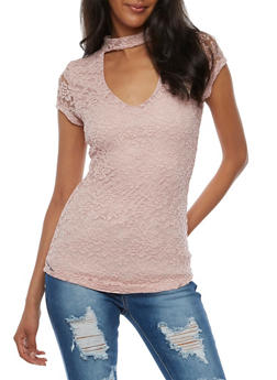 Short Sleeve Lace Top with Choker Neck - BLUSH - 3033015994762