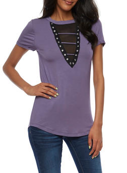 Mesh Lace Up T Shirt - 3033015994920