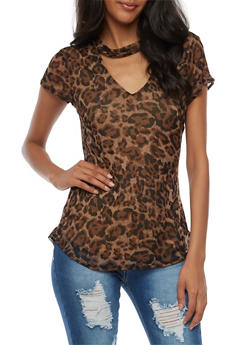 Short Sleeve Leopard Mesh Top with Choker Neck - 3033015995831