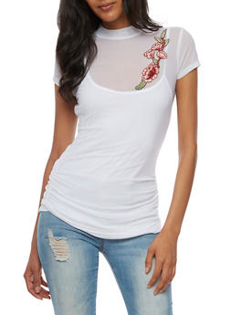 Mesh Top with Floral Applique - WHITE - 3033015998529