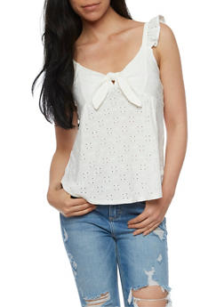 Eyelet Tie Front Top with Ruffle Straps - WHITE - 3033015998562