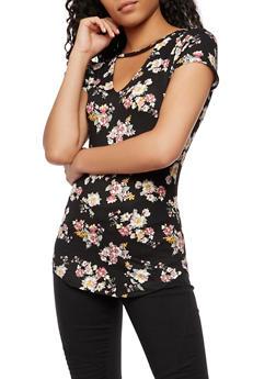 Floral Choker Neck T Shirt - 3033015999699