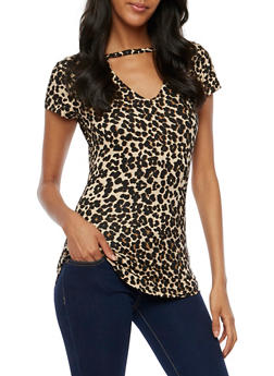 Leopard Choker Neck Top - 3033015999733