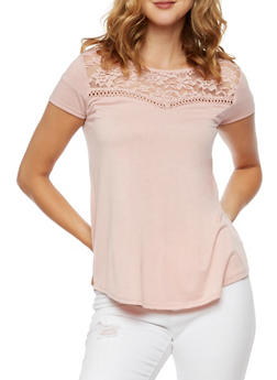 Lace Detail Short Sleeve Top - 3033015999803
