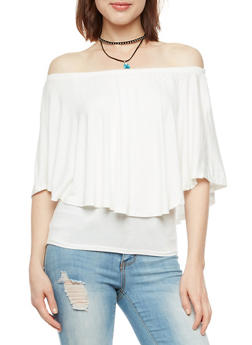 Off the Shoulder Overlay Top with Necklace - IVORY - 3033038342109