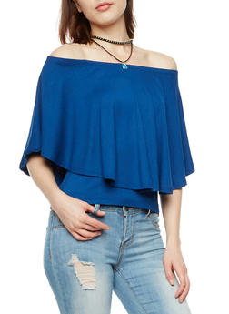 Off the Shoulder Overlay Top with Necklace - 3033038342109