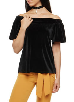 Off the Shoulder Back Slit Velvet Top with Choker - BLACK - 3033038342453