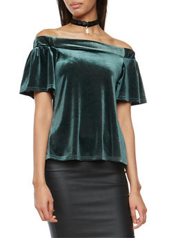 Off the Shoulder Back Slit Velvet Top with Choker - GREEN - 3033038342453