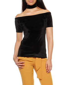 Velvet Off the Shoulder Back Zip Choker Top - BLACK - 3033038342455