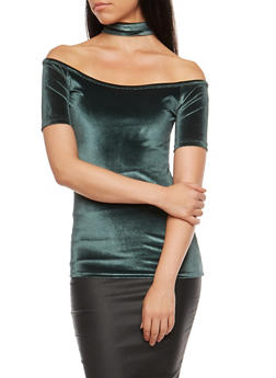 Velvet Off the Shoulder Back Zip Choker Top - 3033038342455