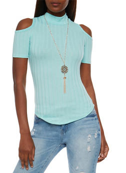 Short Sleeve Cold Shoulder Mock Neck Top - 3033038347202