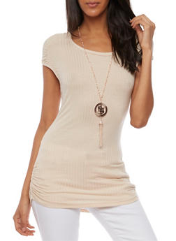 Cap Sleeve Rib Knit Top with Necklace - 3033038347221